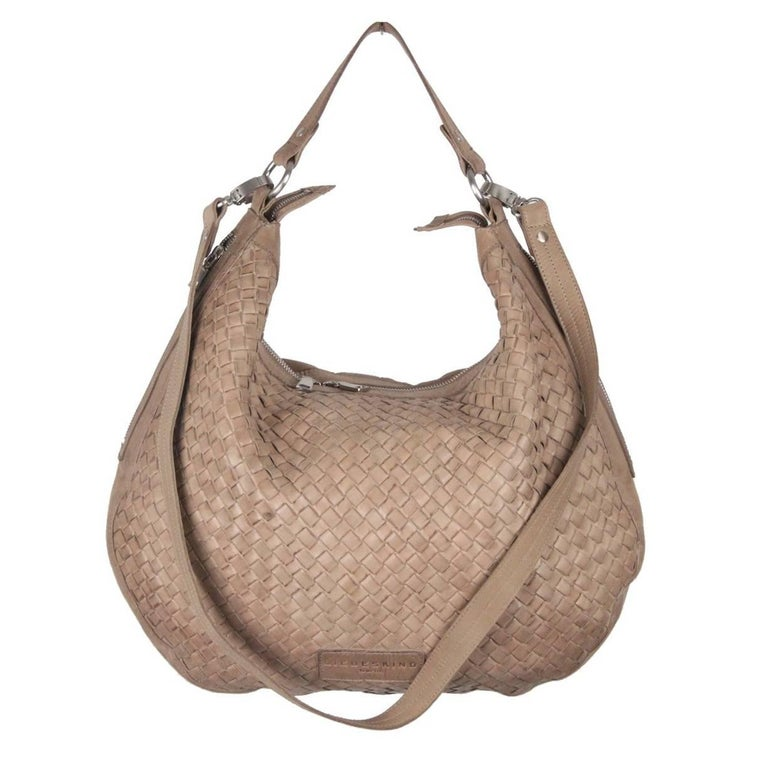 Liebeskind Berlin Taupe Woven Leather Mandy Hobo Bag For