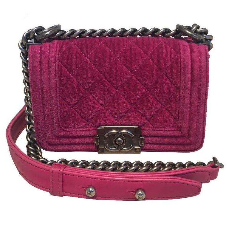 Chanel Magenta Velvet Extra Mini Classic Le Boy Flap Bag
