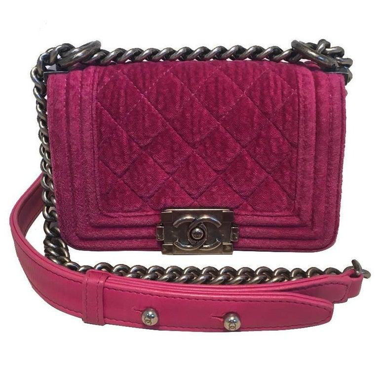 Chanel Magenta Velvet Extra Mini Classic Le Boy Flap Bag 1
