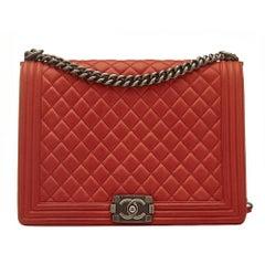 Chanel Quilted Red Boy Shoulder Bag
