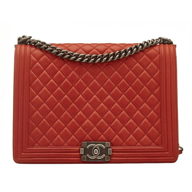 Chanel Quilted Red Boy Shoulder Bag  1