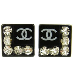 Chanel Black Resin Square Rhinestone Charm Evening Stud Earrings