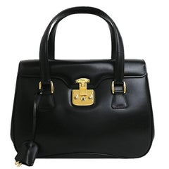 Gucci Black Leather Gold Kelly Style Top Handle Satchel Flap Bag W/ Accessories