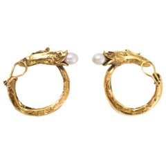 Goossens Goldtone & Faux Pearl Fish Hook Clip-On Earrings