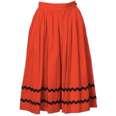 1970's Yves Saint Laurent YSL Red Skirt with Black Chevron Detailing