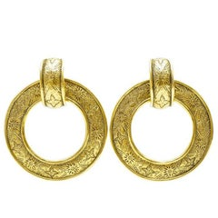 1980s Chanel Etched gold hoop earrings