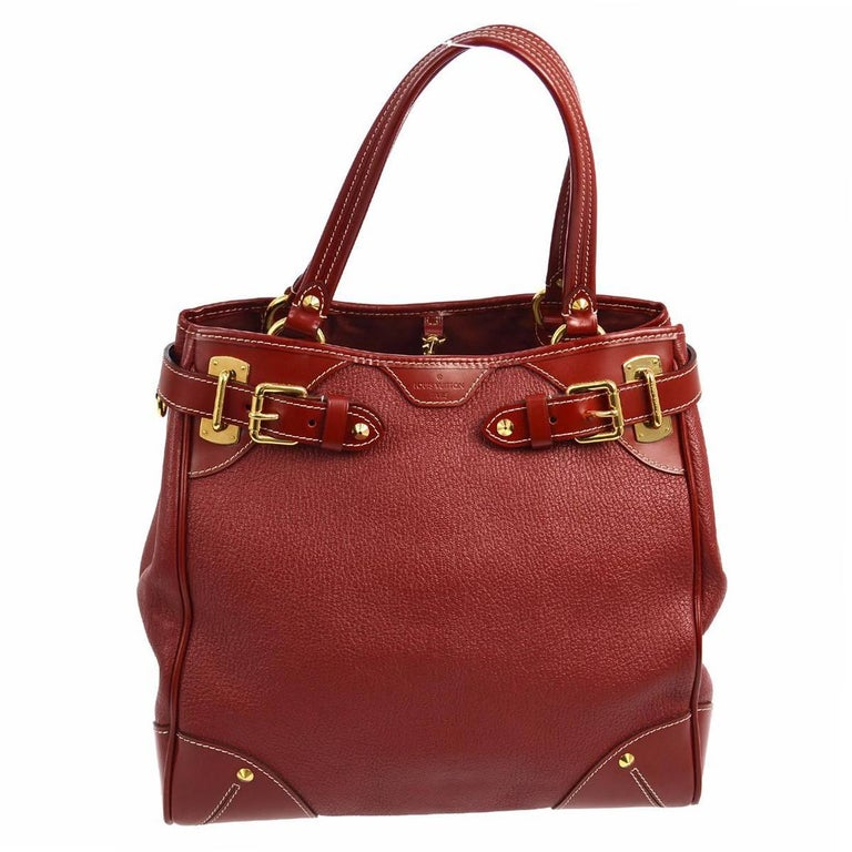 Louis Vuitton Bordeaux Red Leather Buckle Carryall Travel  Top Handle Tote Bag