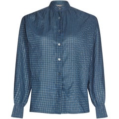1970s Yves Saint Laurent Blue and Gold Thread Checked High Necked Blouse