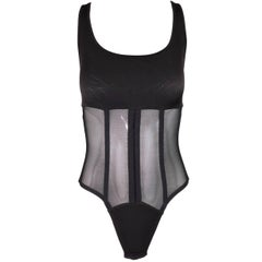Unworn 1990's Valentino Sheer Black Bandage Fishnet Mesh Corset Bodysuit Top 32