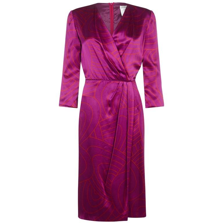 1990s Louis Feraud Hot Pink Silk Dress With Wrap Around Detail