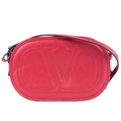Valentino Women's Red Logo Go Small Calfskin Crossbody Bag