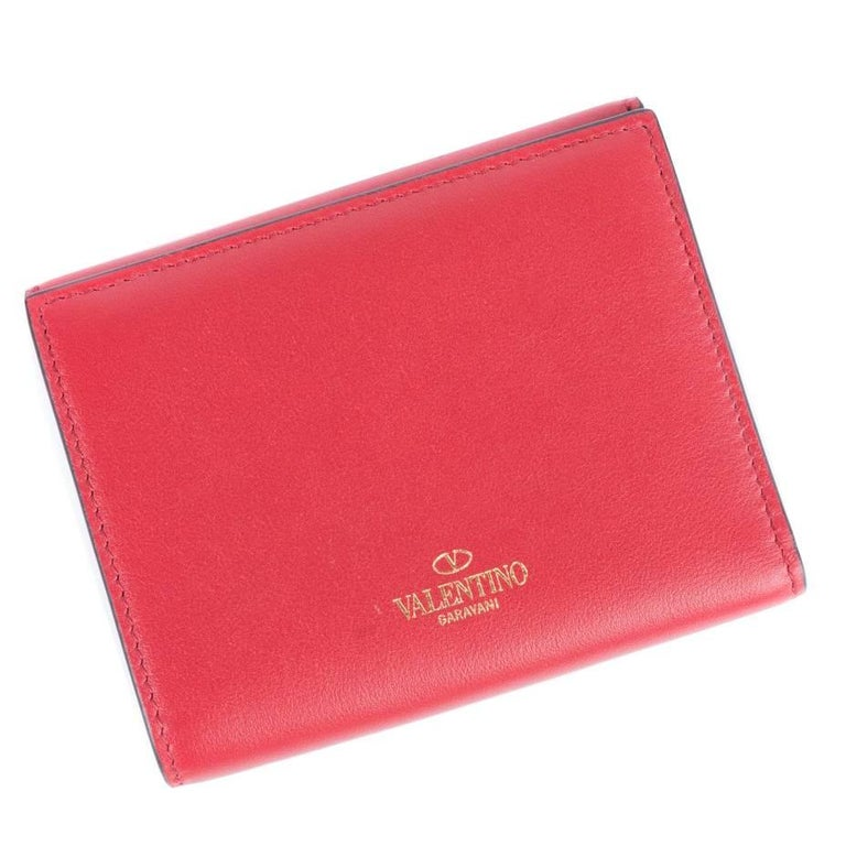 Valentino Women S Solid Red Leather French Compact Wallet