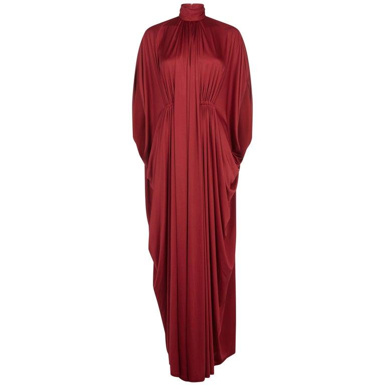 1970s Yuki Silk Jersey Drape Dress In Deep Rust