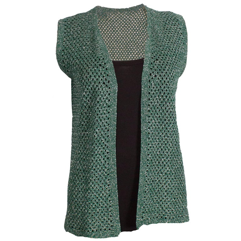 Green and Silver Crochet Gilet For Sale