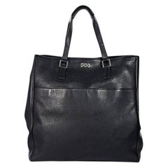 Black Gucci Pebbled Leather Tote Bag