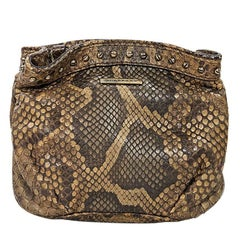 Brown Burberry Studded Python Pouch