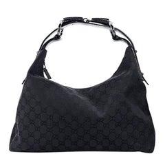 Black Gucci Medium GG Horsebit Hobo Bag