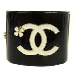 Chanel Like New Black Gold Clover Charm Evening Cuff Bracelet