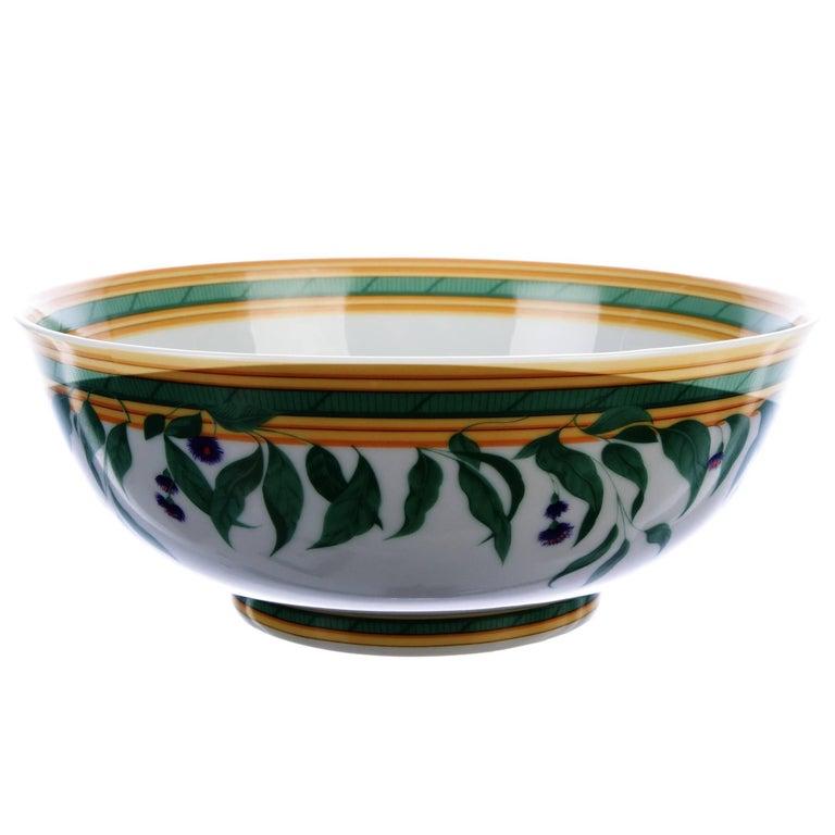 Hermes porcelain white multi color bowl centerpiece table