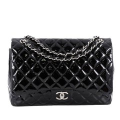 Chanel Classic Double Flap Bag Quilted Patent Maxi
