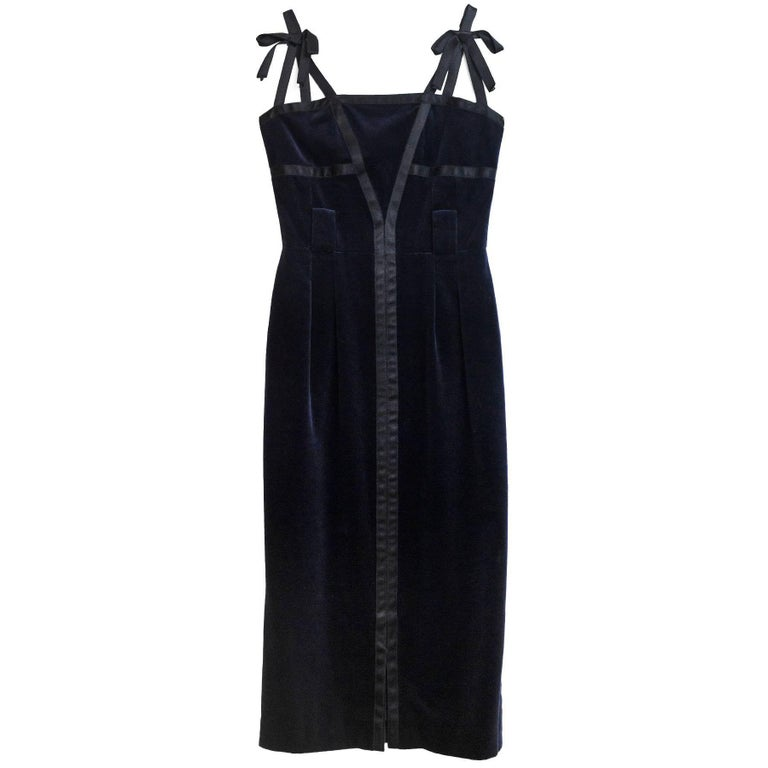 Chanel Navy & Black Velvet Dress Sz FR38
