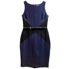 Christian Dior Navy & Black Silk Sheath Dress w/ Belt Sz 6