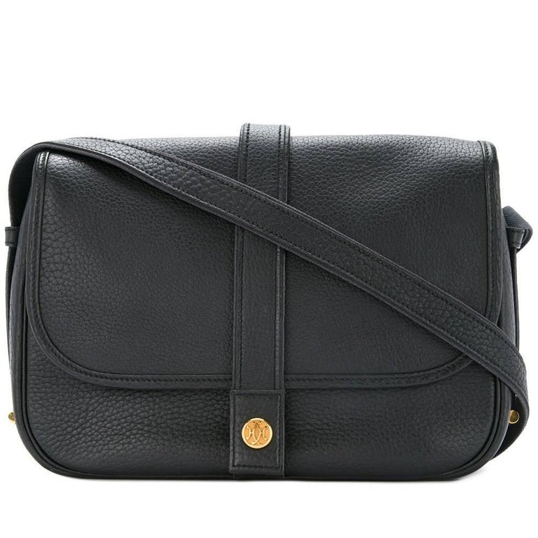 Hermes Black Leather Gold Hardware Saddle Carryall Flap Shoulder Bag