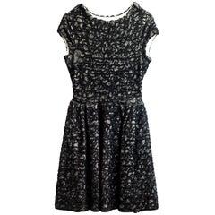 Christian Dior Black & White Textured Mesh Skater Dress sz US6