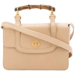 Gucci Nude Leather Bamboo Kelly Top Handle Satchel Evening Flap Shoulder Bag