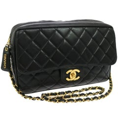 Chanel Black Lambskin Quilted Camera Flap Evening Crossbody Shoulder Bag