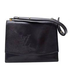 Vintage Louis Vuitton Black Leather Signature Shoulder Flap Bag