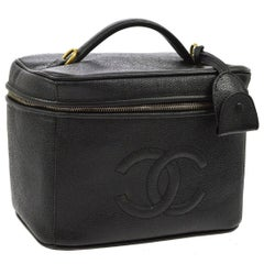 Chanel Black Caviar Top Handle Satchel Carryall Beauty Vanity Travel Case Bag