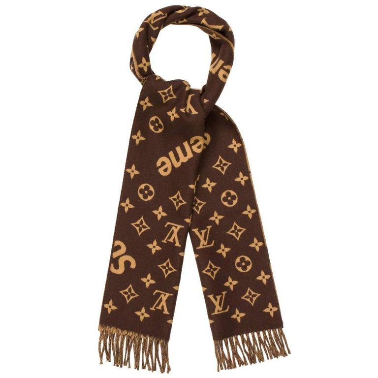 Supreme Louis Vuitton New Monogram Cashmere Wool Men S Scarf Stole Ascot In Box For