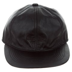 Supreme Black Leather Men's Women's Baseball Cap Hat