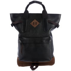Tom Ford NEW Black Brown Leather Men's Top Handle Travel Carryall Backpack