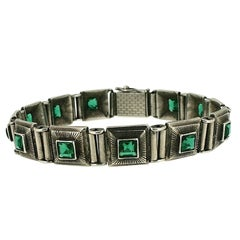 1920s Green Glass Art Deco Design Vintage Bracelet