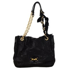Lanvin Black Leather Quilted Pucker Medium Happy Flap Bag