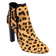 Roberto Cavalli Womens Leopard Print Leather Booties