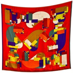 "Hermes Red/Multicolor Echec Au Roi ""Checkmate"" Silk 90cm Scarf"