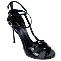 Roberto Cavalli Women's Black T-Strap Peep Toe High Heel Sandal