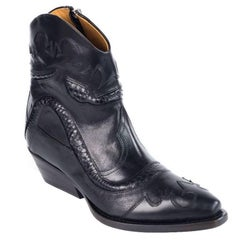 Roberto Cavalli Women's Black Leather Western Ankle Boots