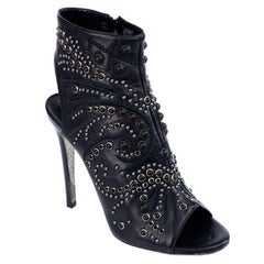 Roberto Cavalli Women's Black Leather Peep Toe Ankle Boot
