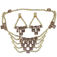 1960s Lilac Rhinestone Vintage Necklace and Chandelier Earring Set