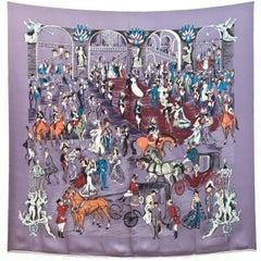 Hermes Dusty Purple Gala Scene Silk 90cm Scarf with Box