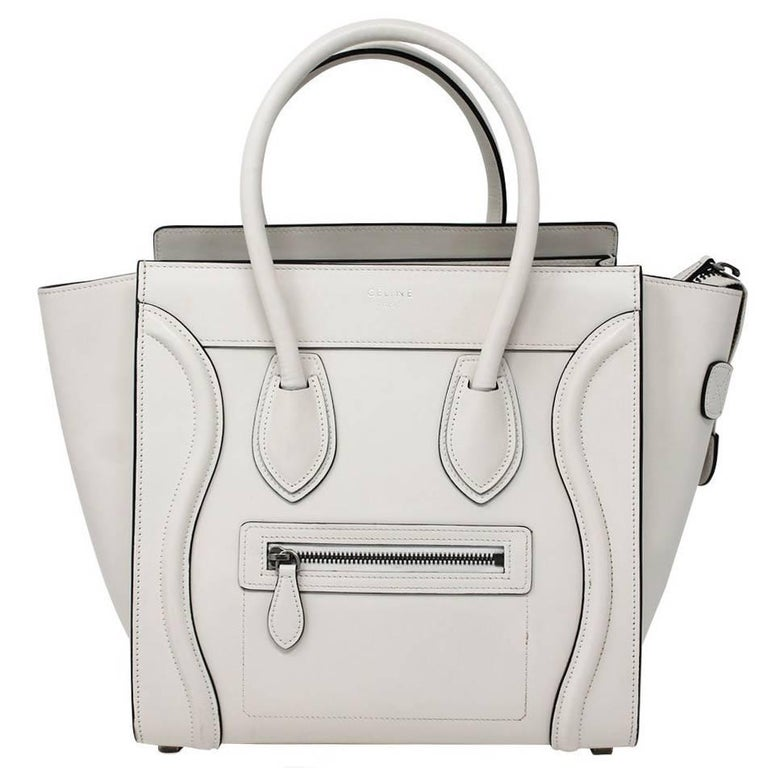 Celine Cream Micro Luggage Black Lining Handbag Tote