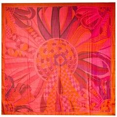 Hermes  Rouge/Violet Les Flots Du Cheval Mousseline Sheer Silk 140cm Scarf