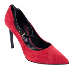 Roberto Cavalli Womens Red Suede Leather Pointy Toe Pumps