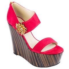 Roberto Cavalli Women's Red Suede Sandal Wedges