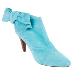 Roberto Cavalli Light Blue Suede Bow Ankle Boots