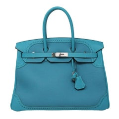 Hermes Birkin Ghillies Turquoise 35cm Togo Swift Leather 2015 Handbag